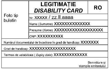 Modelului legitimației acordate persoanelor cu dizabilități